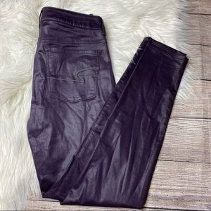 American Eagle High Rise Leggings Coated Purple 6